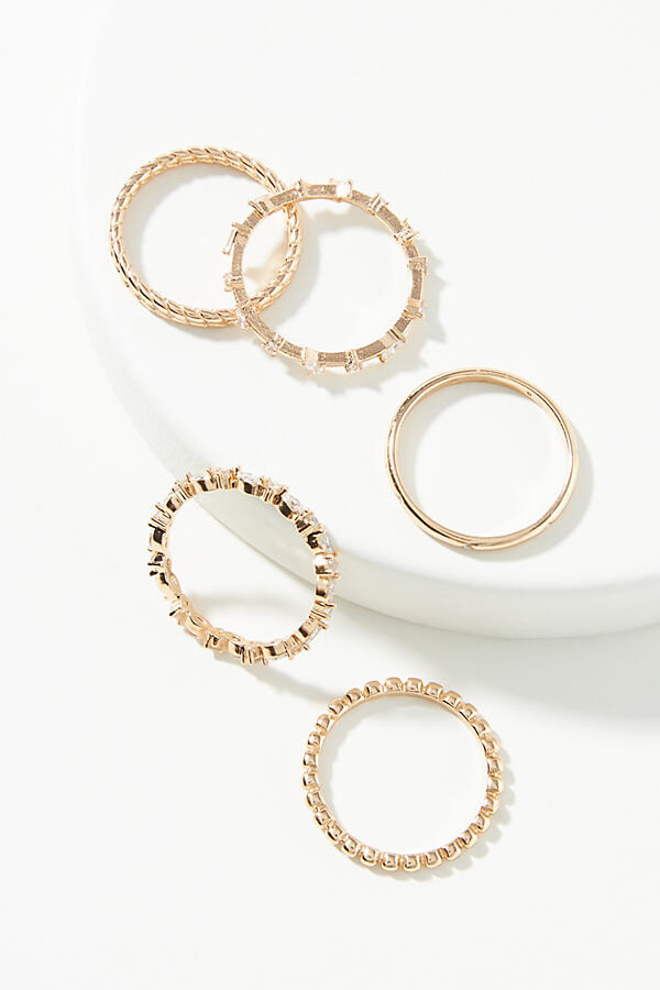 Elodie Ring Set By Anthropologie in Gold Size 6