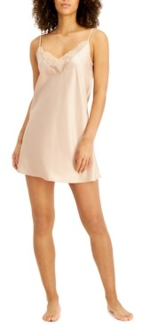 INC International Concepts Inc Lace-Trim Satin Chemise Nightgown, Created for Macy's
