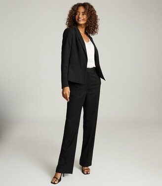 Reiss Hayes - Wool Blend Cropped Blazer in Black