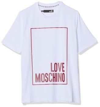 Love Moschino Men's Logo Box Print_Regular Fit Short Sleeve T-Shirt