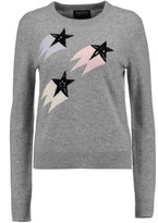 Markus Lupfer Shooting Star embellished intarsia wool and cashmere-blend sweater