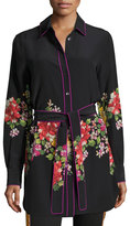 Etro Embroidered Tie-Waist Silk Tunic, Black