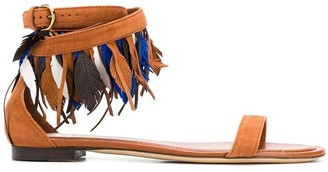 Tod's Feather-Detail Suede Sandals