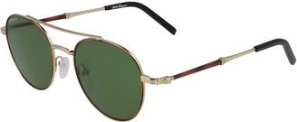 Salvatore Ferragamo Men's Round Metal Double-Bridge Sunglasses
