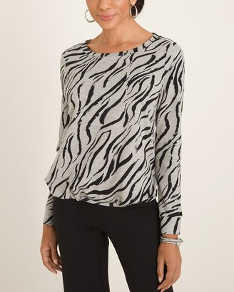 Zenergy Zebra-Print Cinched Pullover