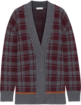 Sandro Strass Crystal-embellished Checked Knitted Cardigan