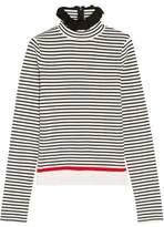 MSGM Ruffle-Trimmed Striped Stretch Cotton-Blend Top