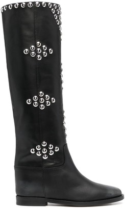 Via Roma 15 Silver-Studded Leather Boots