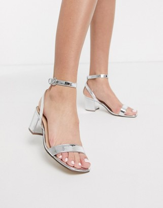 London Rebel mid heel barely there sandals in silver