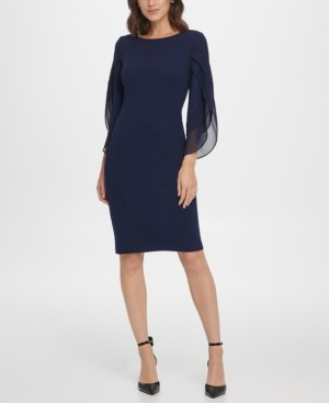 DKNY Sheath with 3/4 Chiffon Sleeves