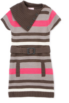 Pink Angel Fuchsia Stripe Belted Split-Neck Dress - Infant Toddler & Girls