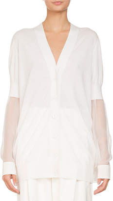 Givenchy V-Neck Button-Front Oversized Cardigan w/ Chiffon Sleeves