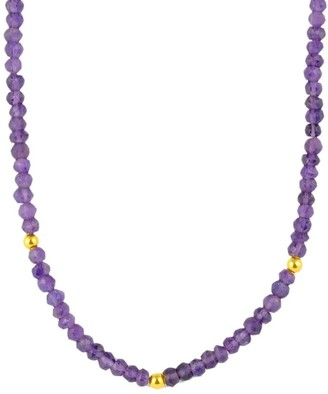 """14K Gold-Plated Sterling and Gemstone Bead Necklace, 32"""""""