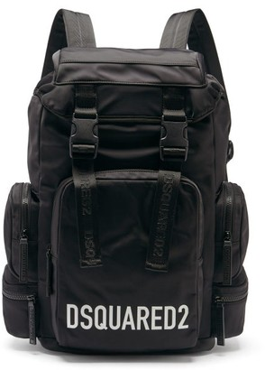 DSQUARED2 Logo-print Satin-shell Backpack - Black