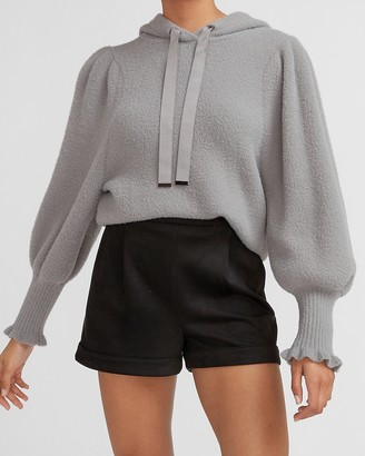 Express High Waisted Suede Rolled Hem Shorts