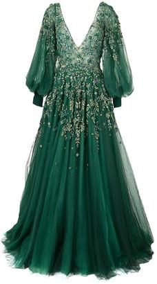 Saiid Kobeisy Long-Sleeve Flared Dress