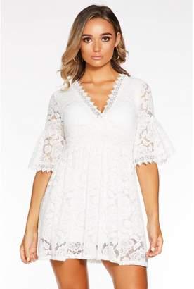 Quiz Cream Lace Wrap Flute Sleeve Skater Dress