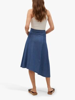 MANGO Gaia Asymmetric Denim Midi Skirt, Open Blue