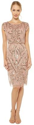 Adrianna Papell Beaded Blouson Sheath Dress (Rose Gold) Women's Dress