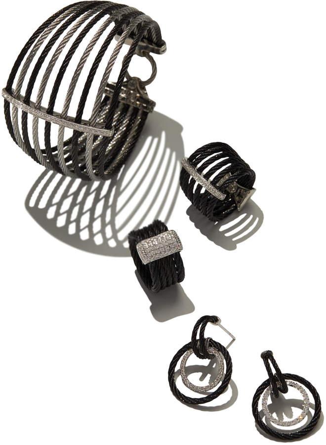 Alor Double Cable Diamond Hoop Drop Earrings, Black