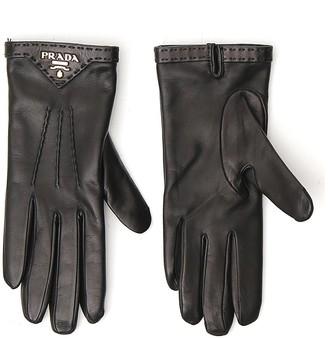 Prada Logo Leather Gloves