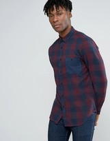 Pull&Bear Checked Shirt In Burgundy In Regular Fit