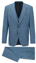 HUGO BOSS - Slim Fit Three Piece Suit In Wool And Silk - Light Blue