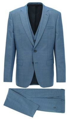 HUGO BOSS Slim Fit Three Piece Suit In Wool And Silk - Light Blue