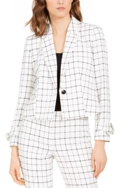 Nine West Printed Single-Button Blazer