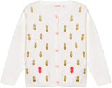 Billieblush Ivory Cardigan with Glitter Pineapples