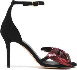 Jerome Dreyfuss Bow-embellished Metallic Leather And Suede Sandals