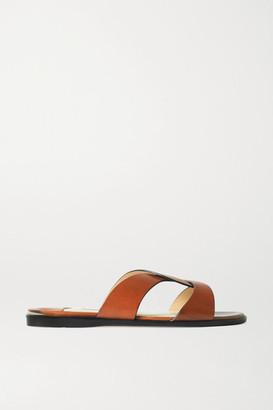 Jimmy Choo Atia Leather Slides - Tan