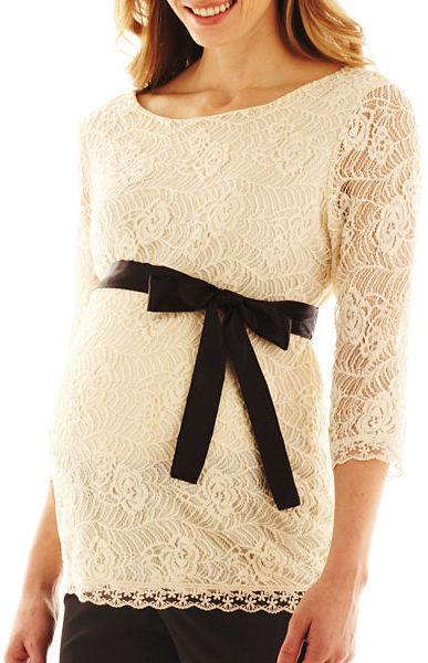 JCPenney Asstd National Brand Maternity Lace Top