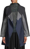 Issey Miyake One-Button Dot-Stripe Textured Fit-and-Flare Trench Coat