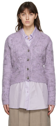 Nina Ricci Purple and Grey Mohair Cable Knit Cardigan
