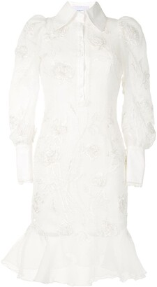 Marchesa Embroidered Beaded Shirt Dress