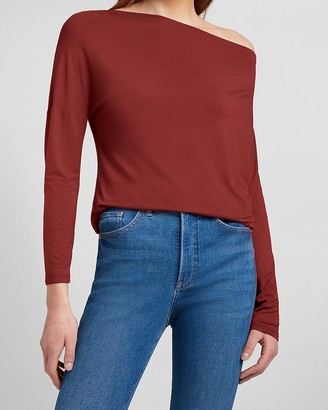 Express Relaxed Off The Shoulder Long Sleeve Tee