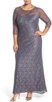 Alex Evenings Plus Size Women's Illusion Neck A-Line Lace Gown