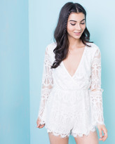 Missy Empire Mina Cream Lace Overlay Playsuit