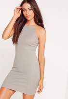 Missguided Petite Exclusive Curve Hem Rib Mini Dress Grey Marl