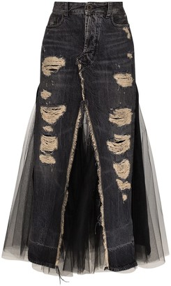 Unravel Project Panelled Denim Midi Skirt
