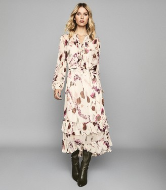 Reiss Aster - Floral Printed Midi Dress in Cream