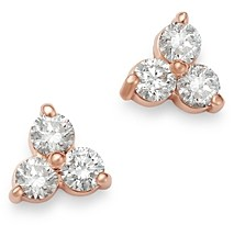Bloomingdale's Diamond Three-Stone Stud Earrings in 14K Rose Gold, 0.35 ct. t.w. - 100% Exclusive