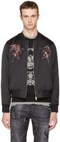 Alexander McQueen Black Embroidered Bomber Jacket