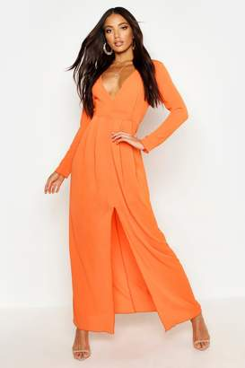 boohoo Woven V Neck Split Front Maxi Dress