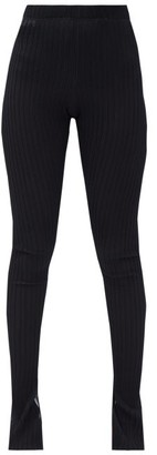 Jil Sander Slit-cuff Ribbed-knit Leggings - Black
