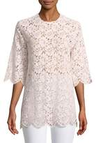 Gucci Short-Sleeve Floral-Lace Tunic Top
