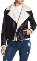 BB Dakota Lovella Faux Leather & Faux Shearling Collar Jacket