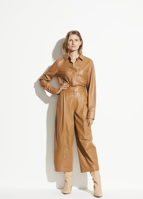Vince Cropped Leather Wide Leg Pant
