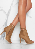 Missy Empire Lorna Camel Faux Suede Lace Up High Heel Boots